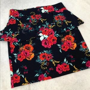 Flowered Navy Blue Charlotte Russe Skirt